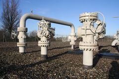 Gas Pipes. Gas control and conditioning station for energy consumption Stock Photography