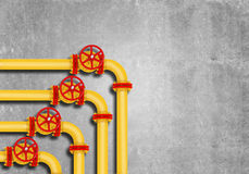 Gas pipes on grey wall background Royalty Free Stock Image
