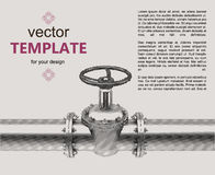Gas pipes valve connection flayer. Over background vector illustration