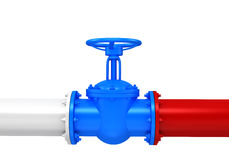 Gas pipes valve connection with russian flag Stock Image