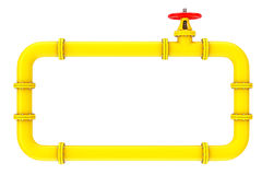 Gas Pipes and Valve. 3d Rendering. Gas Pipes and Valve on a white background. 3d Rendering Stock Photography