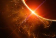 Gas-Planet mit aufsteigendem Stern Lizenzfreie Stockbilder