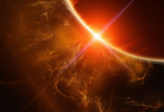 Gas Planet with Rising Star Royalty Free Stock Images