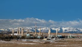Gas plant near Canadian Rockies Royalty Free Stock Photos