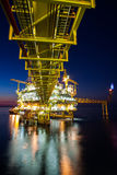 Gas platform or rig platform in sunset or sunrise time Royalty Free Stock Image