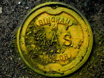 Gas Pot Hole Cover. Colorful Pot Hole Cover on the streets of Providence, Rhode Island Royalty Free Stock Photo