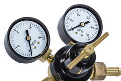 Gas pressure regulator with manometer, isolated with clipping pa Royalty Free Stock Photos