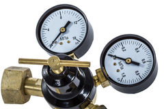 Gas pressure regulator with manometer, isolated with clipping pa Stock Photography