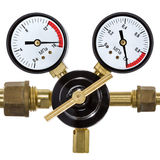 Gas pressure regulator with manometer, isolated on white backgro Royalty Free Stock Photos