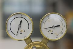 Gas Pressure Regulators in a laboratory analytical equipment. stock images