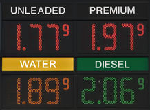 Gas price is cheaper than water again. People happy with the lower gas price Royalty Free Stock Photos