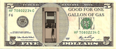 Gas price crisis. Concept image with 5 dollar bill good for 1 gallon of gas stock photos