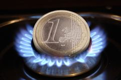 Gas price and energy cost. Gas price is expensive and costs burns a lot of money (Euro Stock Photography