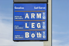 Gas Price Humor. A gas sign with a humorous slant: I incorporated the old saying cost an arm and a leg onto the sign stock image