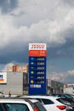 Gas price list. Gas station price list at Tesco, Ostrava - Futurum shoppung center stock photos
