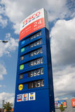Gas price list. Gas station price list at Tesco, Ostrava - Futurum shoppung center stock photos