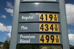 Gas Price Sky High. Gas prices keep going up. Diesel climbs to 5 dollars a gallon in the US. Room for copy space above prices stock photo