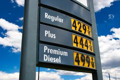 Gas Price Sky High Plus 4.44. Gas prices keep going up. Diesel climbs to 5 dollars a gallon in the US royalty free stock images
