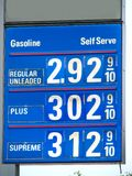 Gas Prices. Blue gasoline or fuel price sign Stock Photos
