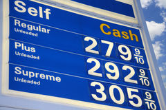 Gas Prices. Looking up at a gas station sign with gas prices stock photo