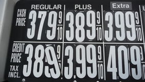 Gas Prices. A board with gas prices for cash or credit Royalty Free Stock Photo