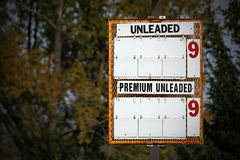 Gas Prices. A sign at a gas station which usually has prices but now is blank Stock Photography