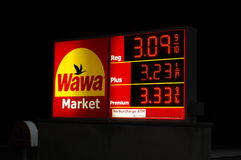 Gas Prices. High gas prices advertised on a roadside sign at a convenience store Stock Images