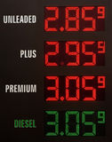 Gas prices. Electronic display with low american gas prices Stock Photo