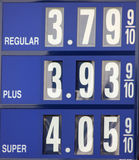 Gas prices. A close up of a gas sign with fuel prices on the decline Royalty Free Stock Photo