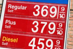 Gas prices. Sign of the high gas prices in the United States Stock Image