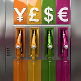 Gas prices. 3D rendering of colorful fuel pumps with currency symbols Stock Images