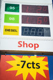 Gas Prices. Fuel prices on a gas station table in switzerland, europe Stock Photos