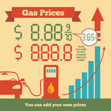 Gas prices infographics. Infographics rising fuel prices where you can add your own prices Stock Photography