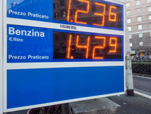Gas prices in Italy Royalty Free Stock Images