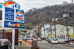 Gas Prices Paterson. PATERSON, NEW JERSEY- MARCH 6 - A view of Paterson NJ and the gas prices at this Shell station on March 6 2017 in New Jersey Stock Photo