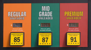 Gas prices at a pump. Colorado gas prices at a pump: regular, mid grade and premium unleaded Royalty Free Stock Image
