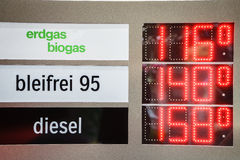 Gas Prices. Sign with biogas price Stock Photo