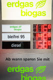 Gas Prices. Sign with biogas price at the 85th International Geneva Motor Show in Palexpo., Switzerland Stock Image