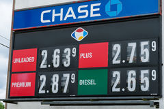 Gas Prices Sign in Oregon at Fred Meyer. EUGENE, OR - MAY 17, 2017: Gas prices on a reader board at Fred Meyer in Eugene Oregon Royalty Free Stock Photo