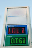 Gas Prices. Sign outside of a gas station convenience store that displays gasoline prices Royalty Free Stock Image