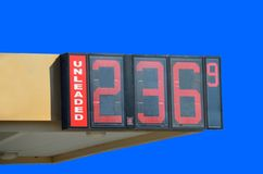 Gas Prices. Unleaded gas prices at a station Stock Image