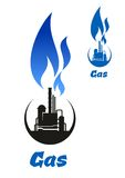 Gas processing black silhouette with blue flame. Natural gas processing plant or petroleum refinery black icon with high blue gas flame on the top for oil and Stock Photos