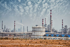 Gas processing factory with gas and oil industry Royalty Free Stock Photos