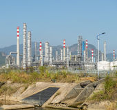 Gas processing factory. landscape with gas industry royalty free stock image