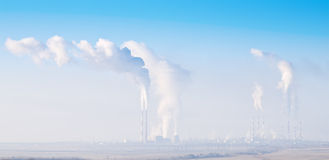 Gas processing plant in the fog Stock Photo
