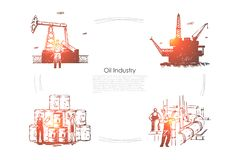 Gas production plant, workers at pipeline, industrial equipment, drilling platform, rig, fuel pump banner template. Oil industry, petroleum refinery concept royalty free illustration
