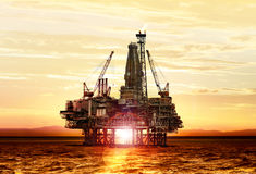Gas production on the sea Royalty Free Stock Photo