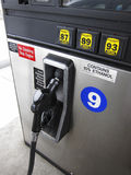 Gas pump. Nozzle, octane ratings and ethanol content Stock Photography