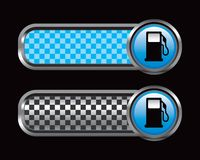 Gas pump on blue and black checkered tabs Stock Images