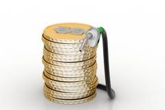 Gas pump with dollar coins Stock Photos